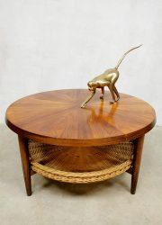 Midcentury design coffee table salontafel 'Rattan vibes'