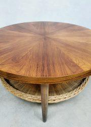 Midcentury design wicker coffee table salontafel rotan