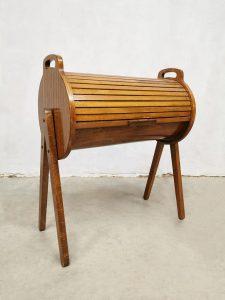 Vintage design roll top cabinet sewing box bijzettafel naaikist