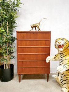 Midcentury Danish design chest of drawers teak vintage Deense ladekast