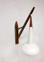 midcentury Danish design milk glass teak wall lamp hengellamp
