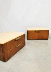 Midcentury Dutch design floating nightstands nachtkastjes A.A. Patijn Zijlstra Joure