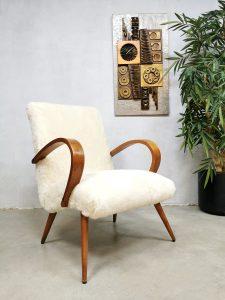 Midcentury design 'faux sheepskin' armchair lounge fauteuil