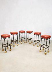 Midcentury French design casino barstools krukken 'Golden ball'