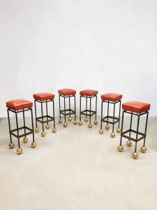 Midcentury French design casino barstools krukken 'Golden ball'