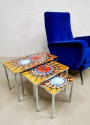 Vintage mimiset nesting tables bijzettafels tegeltafel Belarti 'multiculored'