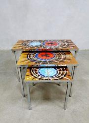 Vintage Belarti bijzettafel tegeltafel retro tile table nesting table