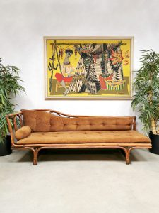 Midcentury bamboo sofa chaise longue daybed bamboe lounge bank