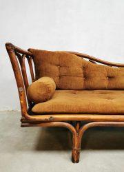 Vintage bamboo sofa chaise longue daybed bamboe lounge bank rattan rotan