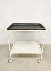 Vintage serveerwagen trolley liquor cabinet Mathieu Mategot style Pilastro Dutch design