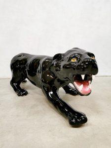 Vintage Italian ceramic black panther statue zwarte panter keramiek beeld