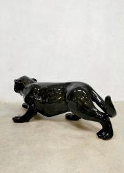 vintage keremiek beeld zwarte panther black panther ceramics