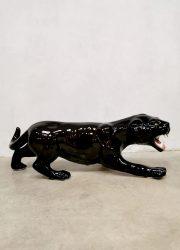 midcentury Italian ceramic black panther statue zwarte panter keramiek beeld decoration eclectic