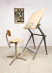 Vintage Dutch design industrial drawing table tekentafel Ahrend de Cirkel