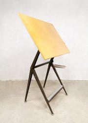 vintage drawing table Friso Kramer Ahrend de Cirkel tekentafel brown