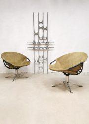 Vintage swivel balloon circle chairs fauteuils Lusch & Co