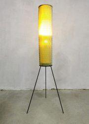 vintage tripod rocket lamp vloerlamp yellow minimalism