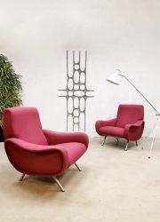 Marco Zanuso vintage Italian lady armchairs for Arflex