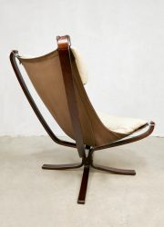 Vintage Leather Falcon easy chair lounge fauteuil Sigurd Resell for Vatne Møbler 1970s