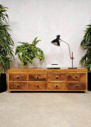 Industrial school lowboard vintage industriële ladekast tv-meubel