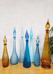 Genie bottles vintage karaf fles midcentury design Italian