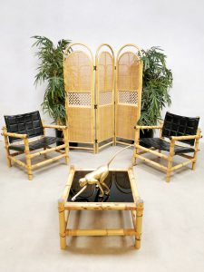 Midcentury Swedish design bamboo safari armchairs bamboe lounge stoelen