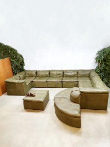 Midcentury design modular sofa modulaire bank Laauser 'Green Patchwork leather'