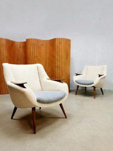 Midcentury Danish design armchairs lounge fauteuils 'Duo tone bouclé'