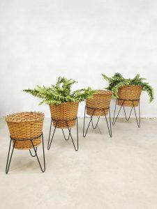 midcentury vintage wicker steel plant stand basket vintage rotan planten standaard