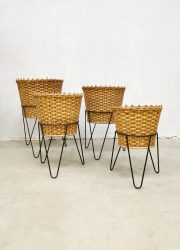 Dutch design wicker plant stand planters rotan