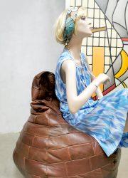 Vintage patchwork leather bean bag De Sede zitzak leer seventies design