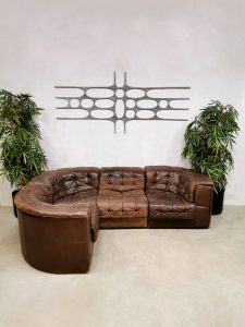 Vintage brown modular patchwork sofa modulaire bank De Sede DS-11