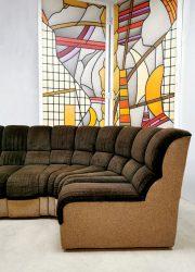vintage brown fabric sofa modulaire bank De Sede style