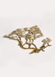 midcentury vintage Brass Bonsai Tree Wall Sculpture by Bijan