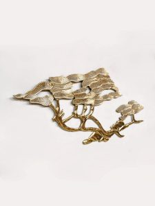 midcentury vintage Brass Bonsai Tree Wall Sculpture by Bijan