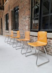 Vintage Dutch industrial stacking chairs stapelstoelen Galvanitas