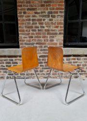 Industrial stacking Galvanitas wooden chair