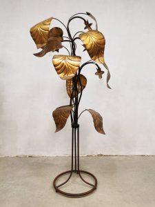 Midcentury Italian design 'Rhubarb leaf' brass floor lamp vloerlamp