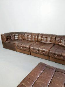 Vintage brown modular patchwork sofa modulaire bank DS 11 De Sede