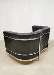 Vintage Italian design sofa loveseat bank 'Black leather minimalism'