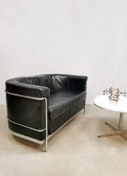 Vintage Italian design sofa loveseat bank 'Black leather minimalism' Paulo Lomazzi's for Zanotta style