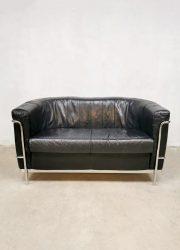 vintage Paulo Lomazzi's 'Onda' sofa style design chromen black leather sofa loveseat bank 'Minimalism' Cassiana style Corbusier style