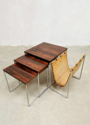 Vintage design nesting tables mimiset Brabantia bijzettafeltjes lectuurbak