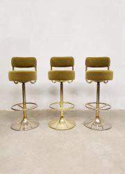 Midcentury Swedish vintage brass bar stools barkrukken Borje Johanson