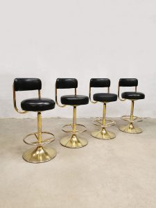 Midcentury Swedish industrial brass bar stools barkrukken Borje Johanson