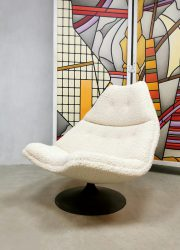 Vintage Dutch design swivel chair F511 Geoffrey Harcourt Artifort bouclé