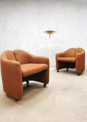 Eugenio Gerli vintage club chairs fauteuil PS 142 for Tecno PS142