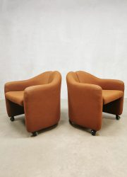Eugenio Gerli vintage club chairs fauteuil PS 142 for Tecno