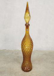 yellow Italian vintage glass genie bottle Itiaanse glazen fles geel