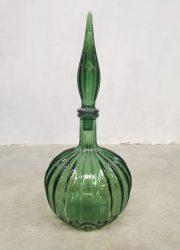 green Italian vintage glass genie bottle Itiaanse glazen fles groen